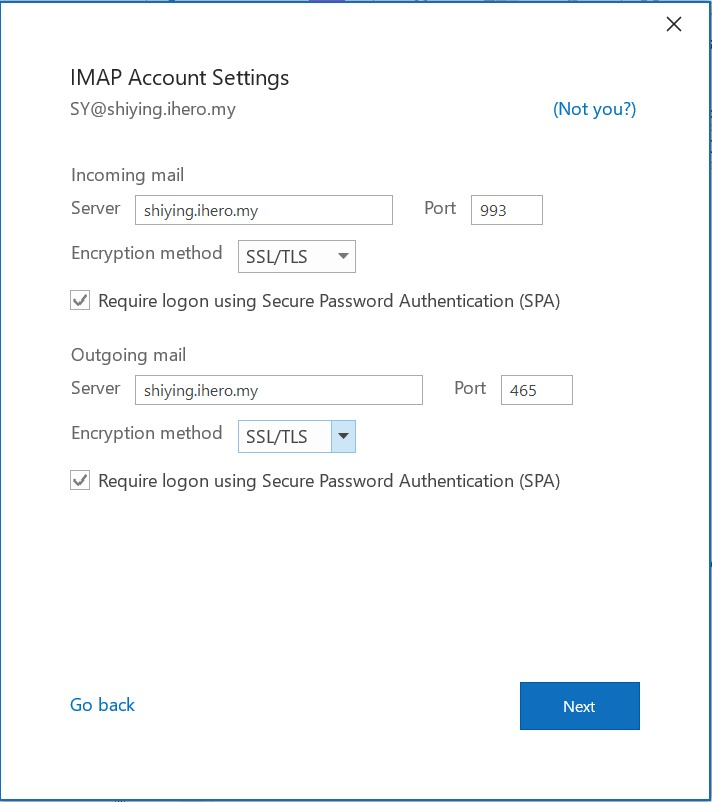 finishform Access Webmail in Outlook