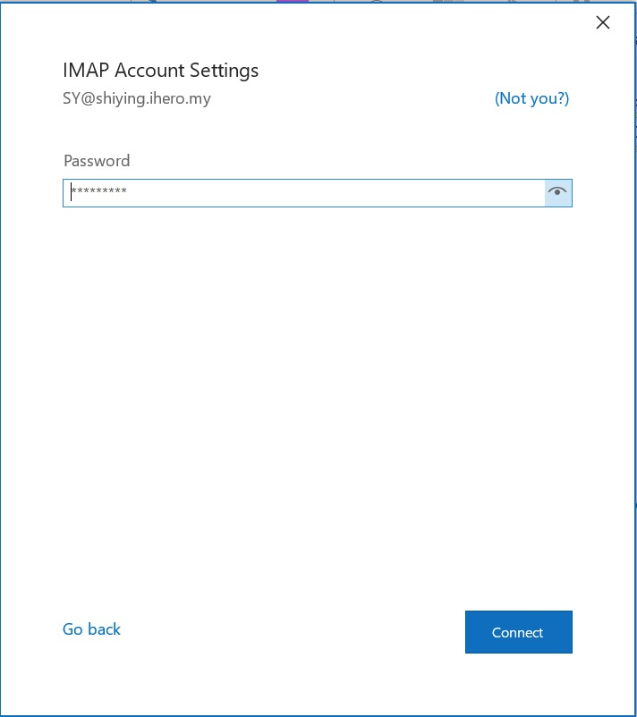 password Access Webmail in Outlook