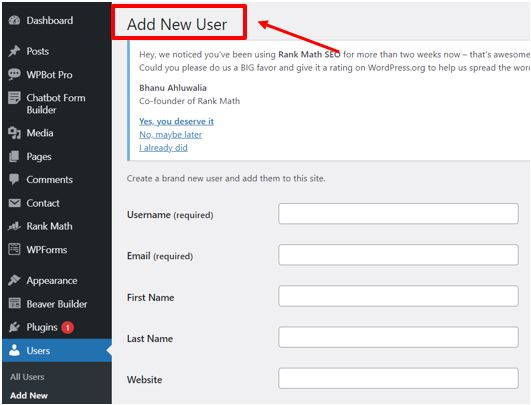 User1 How to add new user